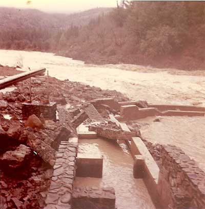11964 Eel River Flood damage to the Van Arsdale fish ladder